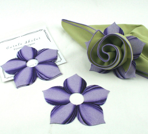 Bouquet Napkin Ring - Lilac with suggested HoneyDew with Lilac Trim Napkin