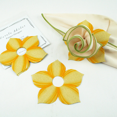 Bouquet Napkin Ring - Yellow with suggested HoneyDew with Gold Trim Napkin