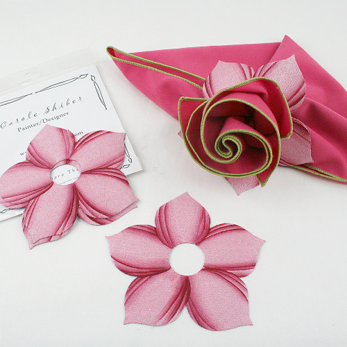 Bouquet Napkin Ring - Pink with suggested Hot Pink with Honeydew Trim Napkin