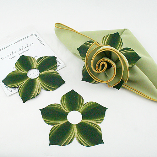 Bouquet Napkin Ring - Pine with Gold Highlights with suggested HoneyDew with Gold Trim Napkin