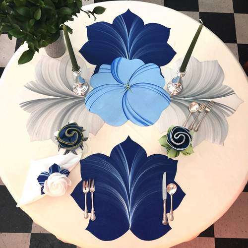 Our Dark Blue leaf with frost highlights on the Table