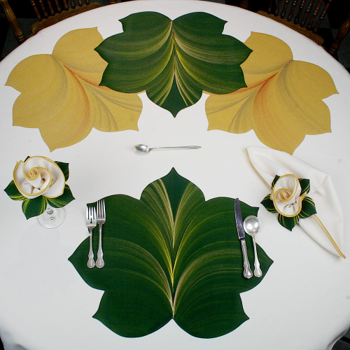 7 Point Fountain Leaf - Pine with Gold and Bronze Highlights