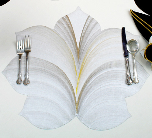7 Point Fountain Leaves - White with Gold and Bronze Highlights