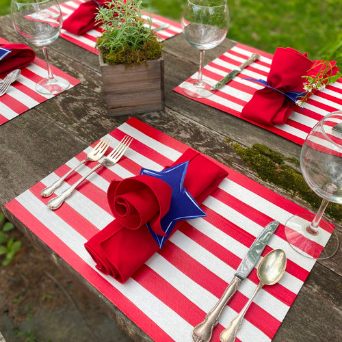 """17x12"""" red and white hand-striped placemat!, handmade in USA. To add napkin and blue/white hand-painted star napkin ring, as shown, click on option."""