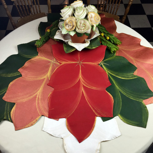 Hand Painted Linen Table Runners: PoinsettiaRed, CopperGold, PineGold, WhiteGold