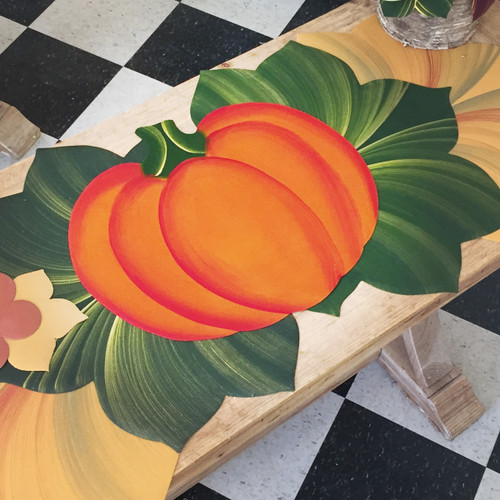Hand-Painted 3-Piece Pumpkin Centerpiece: one Great Pumpkin framed by two beautiful Interlocking Leaves in pine/gold, click here to order leaves: http://www.caroleshiber.com/interlocking-leaf-placemats-1/
