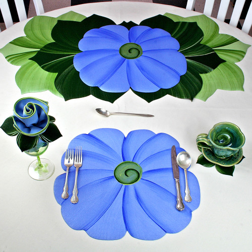 TUTTI FRUITTI FLOWER PLACEMAT- Blue