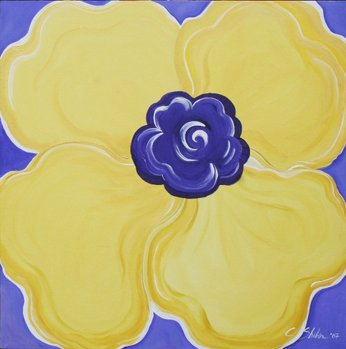 Carole Shiber Original Painting: Yellow Pansy on French Blue