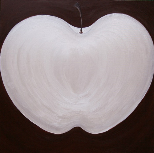 Carole Shiber Original Painting: White Apple on Chocolate