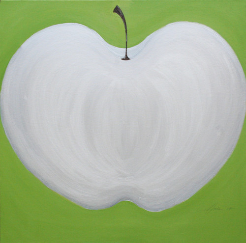 Carole Shiber Original Painting: Apple Moon on Granny Smith Green