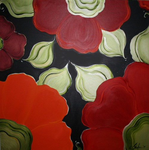 Carole Shiber Original Painting: Puzzling Poppies