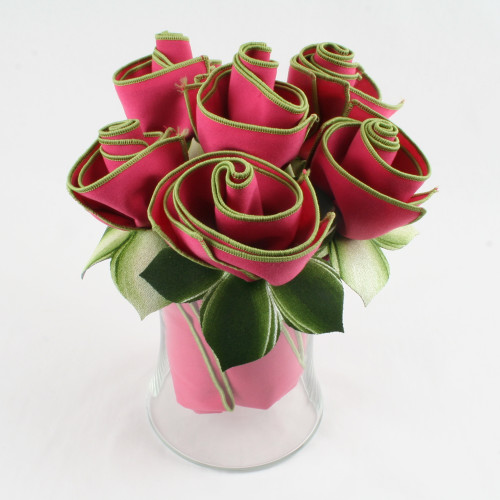 Deep Pink Rose Napkin Bouquet