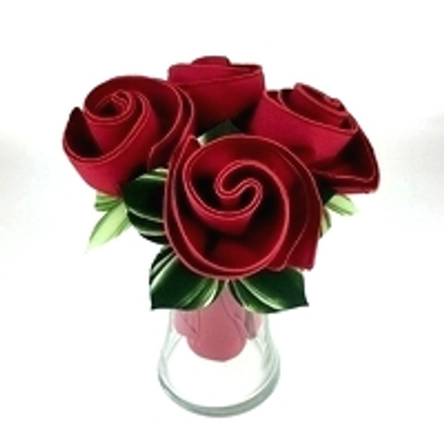 The Classic Red Rose Bouquet, shown here, as Set a 4. Choose 4, 6, 8 or the abundant Dozen.