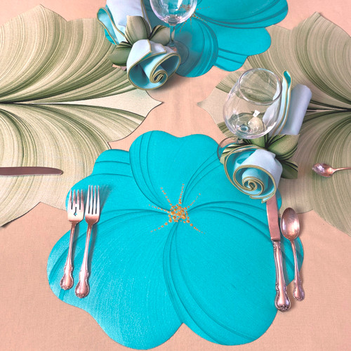 Aqua Buttercup Placemat, shown with Aqua/Honeydew Bouquet Napkin, alternating with Interlocking Leaf Placemats in Mint. (To add the napkin and leaf placemats, click on those categories.)