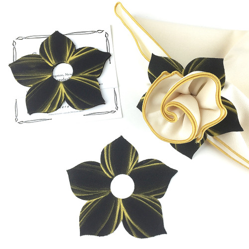 Bouquet Napkin Ring - Black/Gold