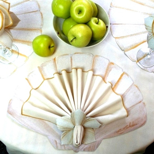Hand-painted Scallop Shell Placemat, white with golden highlights. To add Scalloped Napkin, add Napkin and Ring Option.