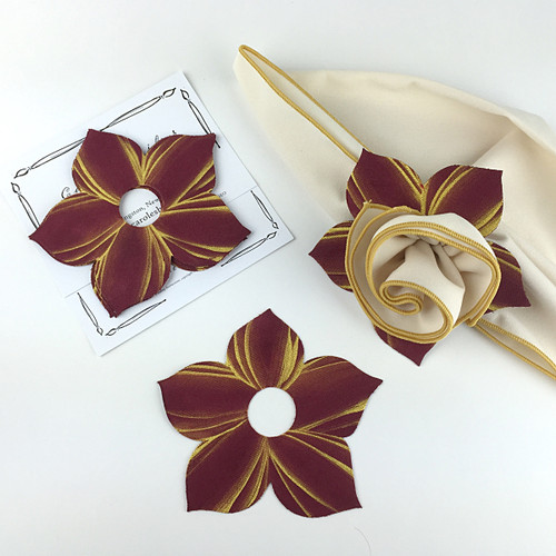 Bouquet Napkin Ring - Burgundy/Gold