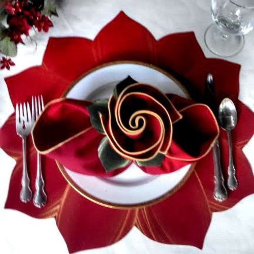Glorious hand-painted Poinsettia Placemat with matching Red/Gold Napkin & Leafy Ring, shown here with napkin bowed open! (Pull loops apart and open with hands; see new video on Napkins Page.)