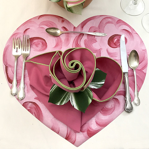 Valentine Floral Heart Placemat - Pink