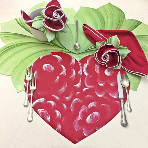 Carole Shiber Red Floral Heart Set for Dinner