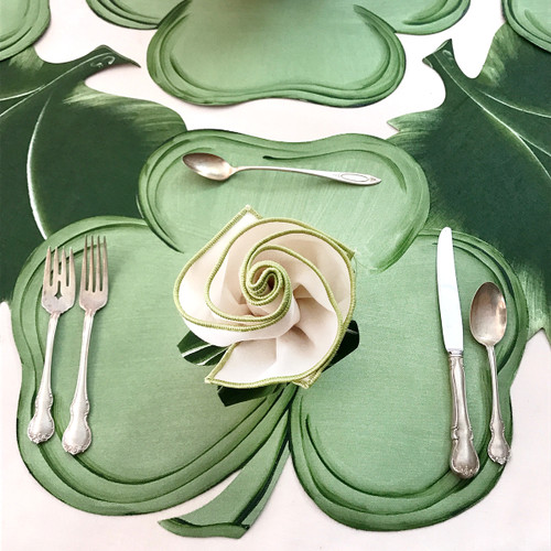 Shamrock Placemat with optional Ivory Honey Dew Napkin Flower.
