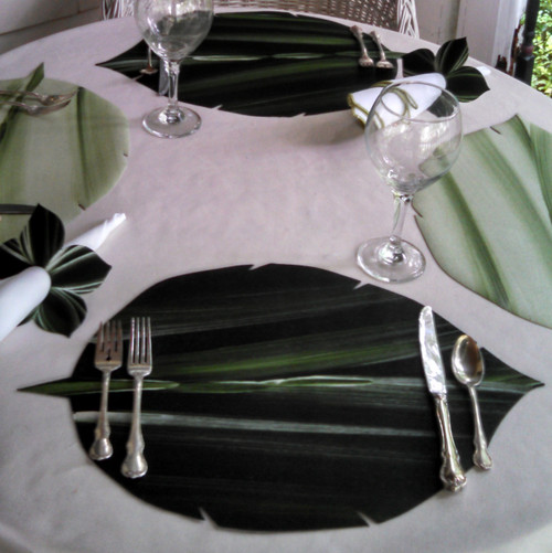 Hand-Painted Aspen Leaf Placemat in PINE/FROST. Combine with MINT/PINE (shown on either side) for contrasting beauty.