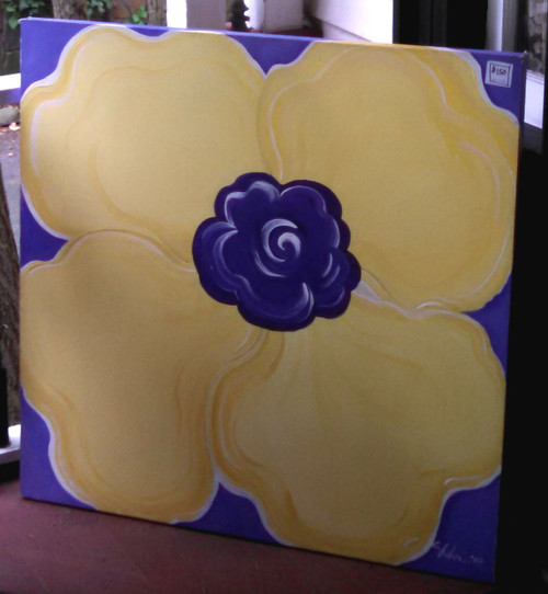 "Popping Yellow Pansy, 36x36"" acrylic-on-canvas, on super sale in hopes of finding its happy home."