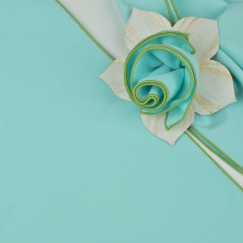Aqua with HoneyDew Trimmed  Napkin