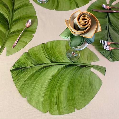 """18""""W x 14"""" Hand-painted Palm Leaves sit around a round, rectangular, oval or square table, perfectly."""