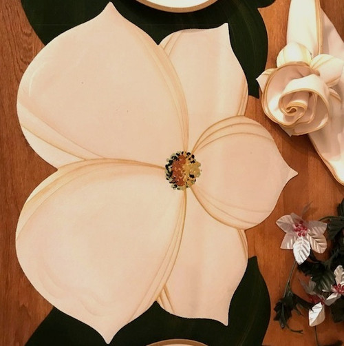 Winter White/gold Magnolia Placemat or Centerpiece only.