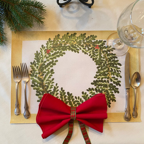 "Carole Shiber ARTPrints(tm) Wreath-on-Rectangle (16 1/2 x 12"") is printed from her original artwork on easy-care fabric-textured vinyl. Made right here in the USA."