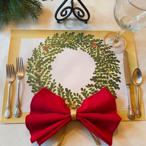 One dozen ARTPrints Wreaths on Rectangles! To add the Napkin Bow, order individual place-ssettings which include the Bow Napkin, or purchase red napkins and create bows by tying ribbon around the centers, as shown!