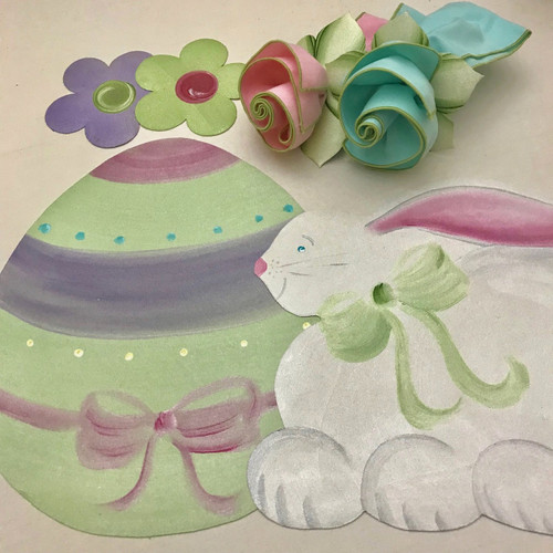 Set includes 1 hand-painted Easter Egg, 1 hand-painted Easter Bunny, 1 aqua/honeydew napkins, 1 light pink/honeydew napkin, 2 mint/pine napkin rings, (flower coasters not included, but may be purchased in the Coasters Category).