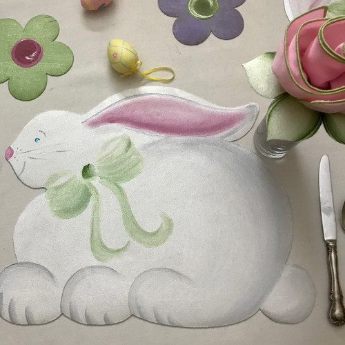 Hand-painted Bunny Placemat with light pink/honeydew napkin and Leafy Napkin Ring.