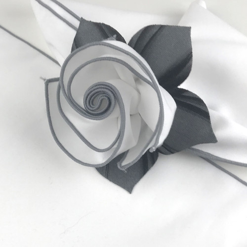 White with Silver Trimmed  Napkin Close Up