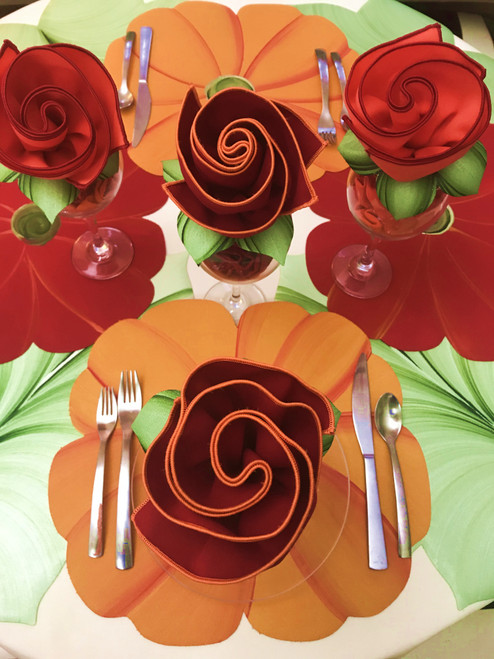 Orange Poppy Placemat with a green swirly center ~ see top placemat for painterly detail. (Bottom Poppy is shown with red/orange bouquet napkin, not included.)