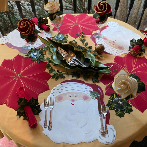 Assorted Set of 6 Placemats is 3 Hand-Painted Poinsettias and 3 ARTPrints(tm) Santas. Order the Christmas Rose Bloom Napkin Bouquet for 6 for Napkins and Napkin-Ring-to-Coasters.