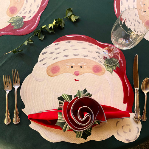ARTPrints Santa with Red/Silver Napkin and Hollyberry Ring. Choose the Forest Tablecloth for festive green below.