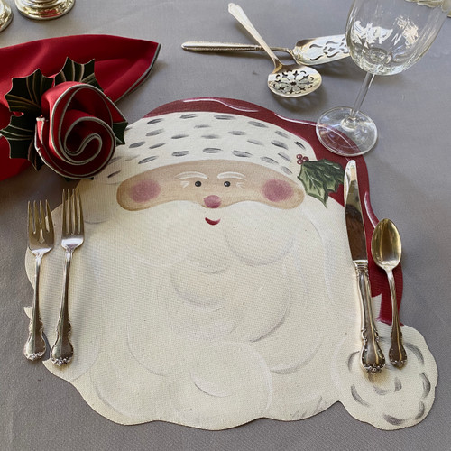 Santa Set includes ARTPrints(tm) Placemat, rich Red/Silver Napkin and Hollyberry Napkin-Ring-to-Coaster in Pine/Frost. (On our silver grey tablecloth, sold separately.)