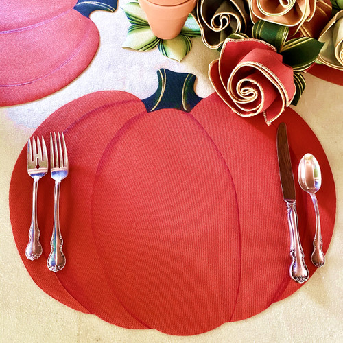Complete Place Setting includes Pumpkin Placemat, Burnt Orange/Gold Napkin and Leafy Napkin-Ring-to-Coaster.