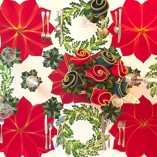 Shown here, choose sets of 4,6, 8 or 12 Sets of Holiday Placemats, Napkins and Napkin-Ring-to-Coasters. Poinsettias alternate with Wreaths for a most artfully hand-painted  tablescape. You may choose sets of 4, 6, 8 or 12 by clicking on the quantity desired below.