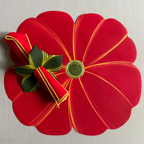Hand-painted Red Poppy with swirly green center. For the complete setting to include the napkin and ring, go to Napkins or Napkin-Rings-to-Coasters. Made in Kingston, New York.