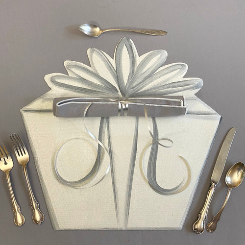 Add our grey/white napkin and roll up just so (tied with a simple curling ribbon!) for the perfect party place-setting; shown atop our easy-care grey tablecloth...so elegant.