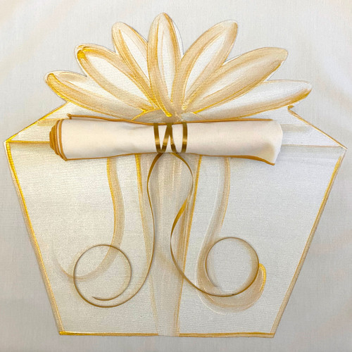 Hand-Painted Gift Box Placemat in white/gold, shown with our Ivory/Gold Napkin rolled with a curly ribbon. (Click here to add napkin: https://www.caroleshiber.com/napkin-ivory-with-gold-trim/)