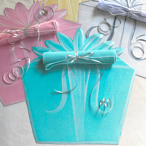 These Party-Makers also make a runner or centerpiece with placemats in White/silver, pink/white, robin's egg blue/white and yellow/white with matching napkins.  Bring them out for birthdays of all ages, baby and wedding showers or whenever it's time to celebrate!