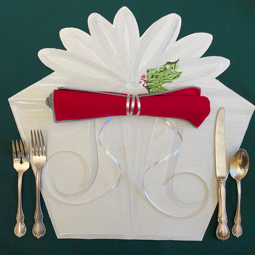 "Gifted Place-Setting includes hand-painted white/silver placemat and one 20x20"" easy-care napkin in red/silver."