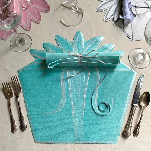 Set includes Robin's Egg Blue Hand-painted Gift Box Placemat and napkin with white trim.