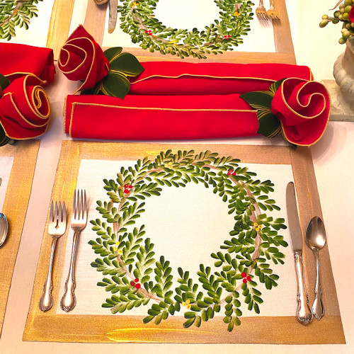 Set includes 2 placemats, 2 napkins & 2 napkin rings, as shown.