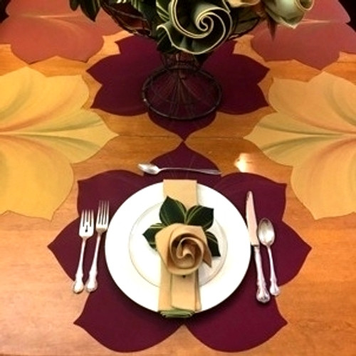 Four placemats, (2 gold/copper and 2 burgundy/gold) + four gold/honeydew napkins with contrasting pine/gold rings. (For matching burgundy and gold napkin rings, leave a note in the comment section at checkout!)