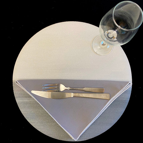 "15"" Round Moonscape Placemat in grey/white with 20x20 edged and easy-care grey/white napkin."